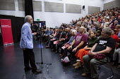 Jeremy Corbyn speaking Labour Party Election Campaign Rally, Swindon - John Harris - 2010s,2019,audience,AUDIENCES,campaign,campaigning,CAMPAIGNS,DEMOCRACY,Election,elections,General Election,Jeremy Corbyn,Labour Party,MP,MPs,Party,POL,political,politician,politicians,Politics,rallies