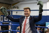 Richard Tice, Brexit Party Election Campaign, Bolsover, Derbyshire - John Harris - 2010s,2019,boxing club,boxing ring,Brexit,Brexit Party,Campaign,CAMPAIGNING,CAMPAIGNS,DEMOCRACY,Election,ELECTIONS,Far Right,Far Right,Party,POL,political,POLITICIAN,POLITICIANS,Politics,rightwing,SPE
