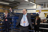 Kevin Harper PPC, Brexit Party Election Campaign, Bolsover, Derbyshire - John Harris - 2010s,2019,boxing club,boxing ring,Brexit,Brexit Party,Campaign,CAMPAIGNING,CAMPAIGNS,DEMOCRACY,Election,ELECTIONS,Far Right,Far Right,Party,POL,political,POLITICIAN,POLITICIANS,Politics,rightwing,SPE
