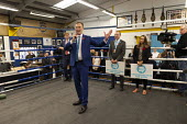 Martin Daubney MEP Brexit Party Election Campaign, Bolsover, Derbyshire - John Harris - 2010s,2019,boxing club,boxing ring,Brexit,Brexit Party,Campaign,CAMPAIGNING,CAMPAIGNS,DEMOCRACY,Election,ELECTIONS,Far Right,Far Right,mep,meps,Party,POL,political,POLITICIAN,POLITICIANS,Politics,righ