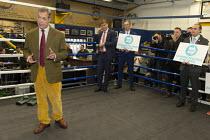 Nigel Farage, Brexit Party Election Campaign, Bolsover, Derbyshire - John Harris - 2010s,2019,boxing club,boxing ring,Brexit,Brexit Party,Campaign,CAMPAIGNING,CAMPAIGNS,DEMOCRACY,Election,ELECTIONS,Far Right,Far Right,mep,meps,Nigel Farage,Party,POL,political,POLITICIAN,POLITICIANS,