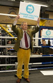 Nigel Farage, Brexit Party Election Campaign, Bolsover, Derbyshire - John Harris - 2010s,2019,boxing club,boxing ring,Brexit,Brexit Party,Campaign,CAMPAIGNING,CAMPAIGNS,DEMOCRACY,Election,ELECTIONS,Far Right,Far Right,mep,meps,Nigel Farage,Party,POL,political,POLITICIAN,POLITICIANS,