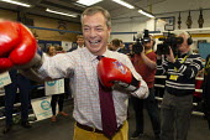 Nigel Farage, Brexit Party Election Campaign, Bolsover, Derbyshire - John Harris - 2010s,2019,boxing club,Boxing Gloves,boxing ring,Brexit,Brexit Party,camera,cameras,Campaign,CAMPAIGNING,CAMPAIGNS,communicating,communication,DEMOCRACY,Election,ELECTIONS,Far Right,Far Right,media,me