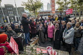 Matt Wrack FBU speaking, Apsana Begum General Election Labour Party campaign launch, Chrisp Street Market for Poplar and Limehouse constituency, East London. - Jess Hurd - 09-11-2019