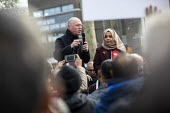 Matt Wrack FBU speaking, Apsana Begum General Election Labour Party campaign launch, Chrisp Street Market for Poplar and Limehouse constituency, East London. - Jess Hurd - 2010s,2019,Apsana Begum,Asian,Asians,BAME,BAMEs,Bengali,bengalis,Black,BME,bmes,campaign,campaigning,CAMPAIGNS,candidate,candidates,Chrisp Street,cities,City,constituency,DEMOCRACY,diversity,East Lond