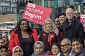 Apsana Begum General Election Labour Party campaign launch with Diane Abbott MP and Matt Wrack, FBU in Chrisp Street Market for Poplar and Limehouse constituency, East London. - Jess Hurd - 2010s,2019,Apsana Begum,Asian,Asians,BAME,BAMEs,Bengali,bengalis,Black,BME,bmes,campaign,campaigning,CAMPAIGNS,candidate,candidates,Chrisp Street,cities,City,constituency,DEMOCRACY,Diane Abbott,divers