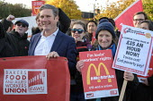 Keir Starmer, McDonalds workers on strike over low pay, picket Wandsworth Town branch, London - Philip Wolmuth - 2010s,2019,banner,banners,BFAWU,branch,BRANCHES,DISPUTE,disputes,EARNINGS,FEMALE,Income,INCOMES,industrial dispute,Labour Party,living wage,London,Low Pay,Low Income,low paid,Low Pay,male,man,McDonald