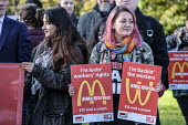 McDonalds workers on strike over low pay, picket Wandsworth Town branch, London - Philip Wolmuth - 12-11-2019