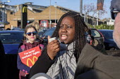 Marsha de Cordova, Labour Party PPC speaking McDonalds workers strike over low pay, picket Wandsworth Town branch, London - Philip Wolmuth - 2010s,2019,BAME,BAMEs,BEMM,BEMMS,BFAWU,Black,BME,bmes,branch,BRANCHES,DISPUTE,disputes,diversity,EARNINGS,ethnic,ethnicity,FEMALE,Income,industrial dispute,Labour Party,living wage,London,Low Pay,Low