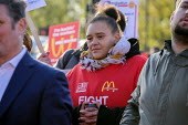 McDonalds workers on strike over low pay, picket Wandsworth Town branch, London - Philip Wolmuth - 2010s,2019,BAME,BAMEs,BEMM,BEMMS,BFAWU,Black,BME,bmes,branch,BRANCHES,DISPUTE,disputes,diversity,EARNINGS,ethnic,ethnicity,FEMALE,Income,industrial dispute,living wage,London,Low Pay,Low Income,low pa