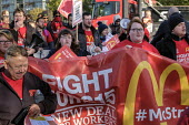 McDonalds workers on strike over low pay, picket Wandsworth Town branch, London - Philip Wolmuth - 2010s,2019,banner,banners,BFAWU,branch,BRANCHES,DISPUTE,disputes,EARNINGS,FEMALE,Income,industrial dispute,living wage,London,Low Pay,Low Income,low paid,Low Pay,McDonalds,McDonald's,McStrike,member,m