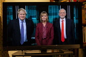 ITV general election debate, Boris Johnson, Jeremy Corbyn debating on TV. Julie Etchingham - John Harris - 19-11-2019