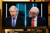 ITV general election debate, Boris Johnson, Jeremy Corbyn debating on TV - John Harris - 19-11-2019