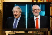 ITV general election debate, Boris Johnson, Jeremy Corbyn debating on TV - John Harris - 2010s,2019,Boris Johnson,communicating,communication,CONSERVATIVE,Conservative Party,conservatives,debate,debating,DEMOCRACY,election,elections,General Election,home,ITV,Jeremy Corbyn,Labour Party,liv