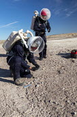 Hanksville, Utah, USA: Mars Desert Research Station. Researchers simulate living on Mars. 'Expedition Boomerang' brought Australian researchers to the station, who donned space suits to explore their... - Jim West - 2010s,2019,America,american,americans,astronaut,Australian,commander,Crew,desert,Expedition Boomerang,exploration,explorer,geology,Hanksville,living on Mars,Mars,Mars Desert Research Station,Mars Soci