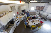 Hanksville, Utah, USA: Mars Desert Research Station. Researchers simulate living on Mars. The Australian crew of 'Expedition Boomerang' aeating lunch - Jim West - 13-11-2019