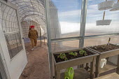 Hanksville, Utah, USA: Mars Desert Research Station. Researchers simulate living on Mars. 'Expedition Boomerang' brought Australian researchers to the station. Jennifer Lane walking through a connecti... - Jim West - 13-11-2019