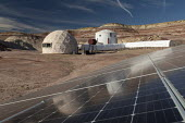 Hanksville, Utah, USA: Mars Desert Research Station. Researchers simulate living on Mars. A 15 kW solar panel system provides electricity to the station. - Jim West - 2010s,2019,America,american,americans,desert,ELECTRICAL,electricity,exploration,explorer,generator,habitat,Hanksville,laboratry,living on Mars,living quarters,Mars,Mars Desert Research Station,Mars La