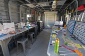 Hanksville, Utah, USA: Mars Desert Research Station. Researchers simulate living on Mars. Repair and maintenance module constructed from an old Chinook helicopter. - Jim West - 13-11-2019