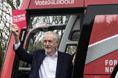 Jeremy Corbyn with Manifesto, Labour General Election Campaign Corby - John Harris - 2010s,2019,bus,bus service,buses,campaign,campaigning,CAMPAIGNS,DEMOCRACY,Election,elections,General Election,Labour Party,Manifesto,POL,political,POLITICIAN,POLITICIANS,Politics,service,services