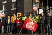 RMT Guards on strike to keep the guard on the train, Worcester SWR Railway Station. Southern are to abolish guards and introduce Driver Only Operated trains. Solidarity from FBU - John Harris - 2010s,2019,DISPUTE,disputes,Driver,DRIVERS,DRIVING,FBU,flag,flags,guard,guards,Industrial dispute,member,member members,members,people,Picket,Picket Line,picketing,pickets,RAIL,Railway,RAILWAYS,RMT,So