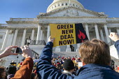 Washington DC, USA Fire Drill Friday protest for action on climate crisis. Capitol Building. Green New Deal Now! - Jim West - 29-11-2019