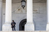 Washington DC, USA. Armed policeman guarding the US Capitol Building - Jim West - 2010s,2019,adult,adults,America,armed,automatic weapon,building,buildings,capitol police,captiol,CLJ,Congress,DC,democracy,District of Columbia,firearm,firearms,force,G36s,government,guarding,gun,guns