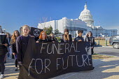 Washington DC USA Funeral for Future protest on Capitol Hill to demand that government addresses the crisis of climate change. It was part of Fridays for Future Global Day of Action. - Jim West - 29-11-2019