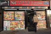 Little Europe Grocery shop with Polish, Bulgarian, Russian and Romanian foods, Corby, Northamptonshire - John Harris - 2010s,2019,bulgarian,bulgarians,customer,customers,Diaspora,eastern European,eastern Europeans,EBF,Economic,Economy,EU,Europe,European,europeans,food,foods,foreign,foreigner,foreigners,Grocery Shop,im