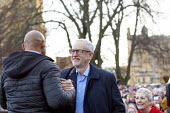 Jeremy Corbyn greeting Mayor Marvin Rees Labour Party Election Campaign Rally Bristol - Paul Box - 2010s,2019,BAME,BAMEs,Black,BME,bmes,campaign,campaigning,CAMPAIGNS,DEMOCRACY,diversity,election,elections,ethnic,ethnicity,General Election,greeting,Jeremy Corbyn,Labour Party,Marvin Rees,Mayor,MAYOR