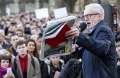Jeremy Corbyn speaking with Mirror front page, Labour Party Election Campaign Rally Bristol. The Mirror front page story with a photograph of a four year old boy with Pneumonia who had to sleep on the... - Paul Box - 09-12-2019