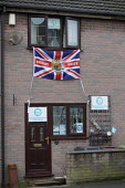 General Election Campaign office, Brexit Party, Bolsover, Derbyshire - John Harris - 2010s,2019,Brexit,Brexit Party,campaign,campaigning,CAMPAIGNS,DEMOCRACY,Election,elections,flag,flags,General Election,house,houses,Leave,office,offices,Party,POL,political,POLITICIAN,POLITICIANS,Poli