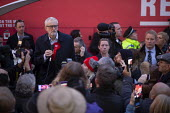 Jeremy Corbyn speaking to supporters, General Election Campaign, Dinnington, South Yorkshire - John Harris - 2010s,2019,bus,bus service,buses,campaign,campaigning,CAMPAIGNS,DEMOCRACY,Election,elections,General Election,Jeremy Corbyn,Labour Party,meeting,MEETINGS,MP,MPs,POL,political,politician,politicians,Po
