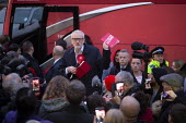 Jeremy Corbyn speaking to supporters, General Election Campaign, Dinnington, South Yorkshire - John Harris - 2010s,2019,bus,bus service,buses,campaign,campaigning,CAMPAIGNS,DEMOCRACY,Election,elections,General Election,Jeremy Corbyn,Labour Party,manifesto,meeting,MEETINGS,MP,MPs,POL,political,politician,poli