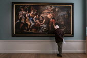 Visitor looking at Venus with Iapyx Tending the Wounded Aeneas by Francesco Solimena, Compton Verney Art Gallery. Masterpieces from the Golden Age of Neapolitan art from 1600 to 1800 - John Harris - 2010s,2019,ACE,age,ageing population,art,Art Gallery,arts,artwork,artworks,culture,elderly,Italian,italians,Leisure,LFL,LIFE,look,looking,male,man,men,Naples,old,painting,paintings,PEOPLE,person,perso