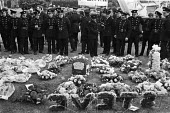 Funeral for fireman Stephen Neill, Basildon, Essex, 1978. He was killed when a wall collapsed at the St Pancras warehouse fire, Camden, North London - NLA - 05-10-1978
