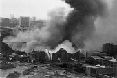 St Pancras warehouse fire, Camden, North London, 1978 where fireman Stephen Neill was killed when a wall collapsed - NLA - 01-10-1978