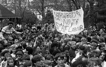 School strike, London 1985, pupils denouncing the Youth Training Scheme (YTS) as slave labour. Norwood School say no to slave labour - NLA - 1980s,1985,activist,activists,adolescence,adolescent,adolescents,against,banner,banners,CAMPAIGNING,CAMPAIGNS,child,CHILDHOOD,children,DEMONSTRATING,Demonstration,juvenile,juveniles,kid,kids,London,pe