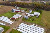 Omro, Wisconsin, USA, a dairy farm with automated milking machines. The long white plastic bags are used for gain and silage storage, a less expensive alternative to building a new silo. Knigge Farms - Jim West - 14-09-2017