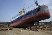 A ship inland. Survivors returning to seach the devastated Kesennuma City, Miyagi prefecture, Earthquake and Tsunami, Japan - Kobayashi Masanori - 02-04-2011