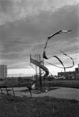 Video tape blowing in the wind from a childrens slide, Everton, Liverpool, 1988 - Dave Sinclair - 12-04-1987