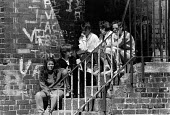 Teenagers sittin on steps, Burlington Street, Vauxhall, Liverpool, 1983 - Dave Sinclair - 12-04-1983