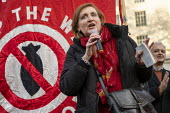 Emma Dent Coad speaking No War With Iran protest after the assassination of Iranian general Qassem Soleimani. Stop the War, Downing Street, Westminster, London - Jess Hurd - 04-01-2020
