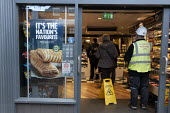 Greggs selling vegetarian sausage rolls, Stratford upon Avon, Warwickshire - John Harris - 2020,2020s,bakery,bought,buy,buyer,buyers,buying,consumer,consumers,customer,customers,EBF,Economic,Economy,fish,fishes,food,FOODS,male,man,men,outlet,outlets,people,person,persons,purchase,purchaser,