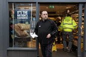 Greggs selling vegetarian sausage rolls, Stratford upon Avon, Warwickshire - John Harris - 2020,2020s,bakery,bought,buy,buyer,buyers,buying,consumer,consumers,customer,customers,EBF,Economic,Economy,fish,fishes,food,FOODS,male,man,men,outlet,outlets,pedestrian,pedestrians,people,person,pers