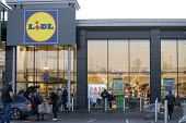 Lidl supermarket, Stratford upon Avon, Warwickshire - John Harris - 2020,2020s,adult,adults,bought,building,buildings,buying,consumer,consumers,customer,customers,EBF,Economic,Economy,FEMALE,Lidl,male,man,men,Morrisons,mother,MOTHERHOOD,MOTHERING,mothers,outlet,outlet