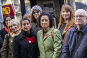 Samira Ahmed BBC presenter and NUJ member with supporters outside her equal pay employment tribunal, Victory House, London - Jess Hurd - BBC,bigotry,CLJ,DISCRIMINATION,employee,employees,employment,employment tribunal,equal,equal pay,Equal Rights,equality,FEMALE,Gen Sec,House,houses,INEQUALITY,job,jobs,law,LBR,London,London.,Male Chauv