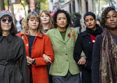 Samira Ahmed BBC presenter and NUJ member with supporters outside her equal pay employment tribunal, Victory House, London - Jess Hurd - 03-10-2019