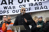 No War With Iran, Tariq Ali speaking after the assassination of Iranian general Qassem Soleimani organised by Stop the War Coalition, Trafalgar Square, London. - Jess Hurd - 11-01-2020