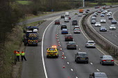 Highways Agency Traffic Officers, M40 motorway lane closure for lorry tyre changing - John Harris - 2020,2020s,4x4,accident,accidental,accidents,Agency,amber,AUTO,AUTOMOBILE,AUTOMOBILES,breakdown,busy,car,cars,close,closed,closing,closure,closures,DIA,employee,employees,Employment,flat tyre,Four By